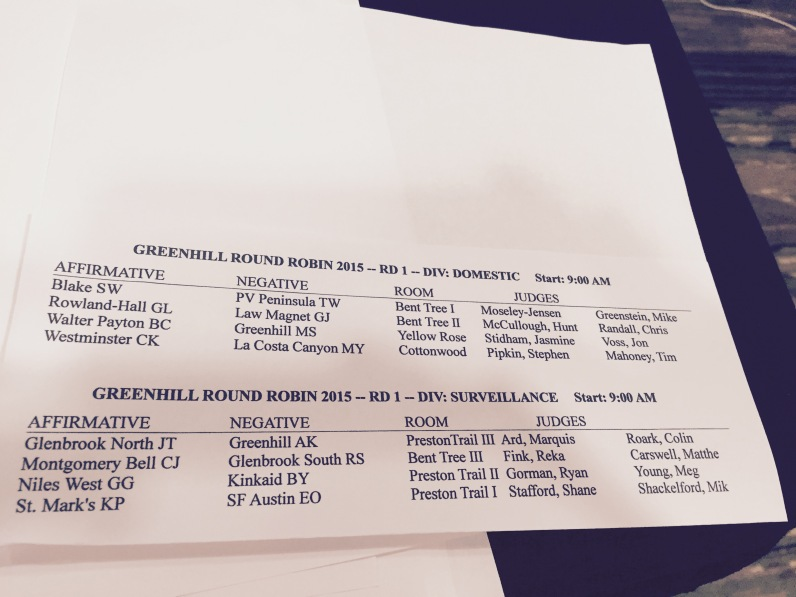 Greenhill RR Round 1