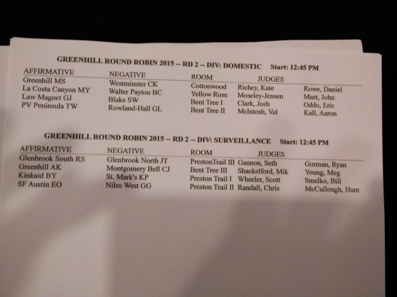 Greenhill RR Round 2